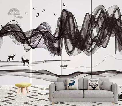Papier Peint 3d Paysage De Dessin Au Trait Abstrait Noir Et