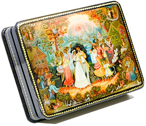 Lacquer Russian Hand Painted (craftsfromrussia Russian Lacquer Miniature - Jewelry Trinket Box -Village Wedding - Medium Size - Hand Painted in Russia (Medium, Style H))