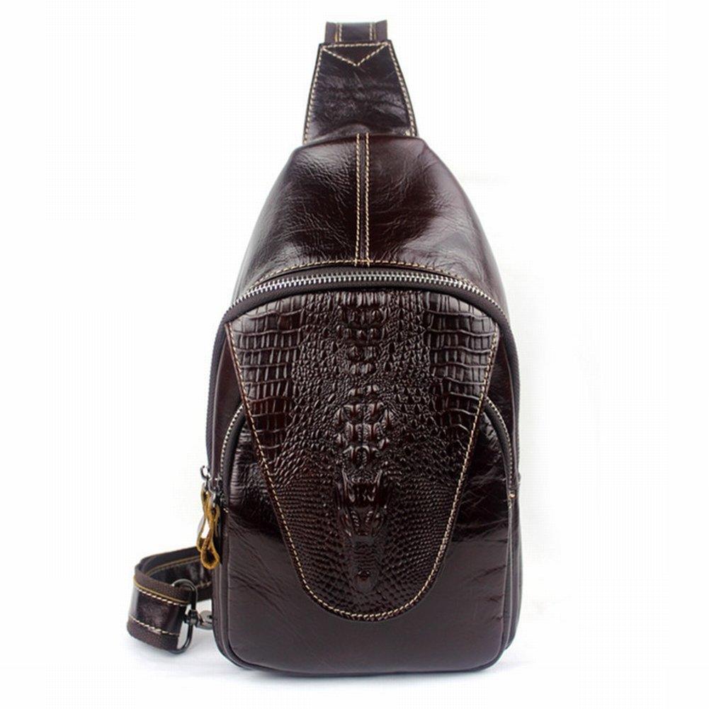 Männliche Paket Krokodil Muster Geprägt Männlichen Brust Top Männlichen Schulter Messenger Messenger Bag , Roter Kaffee