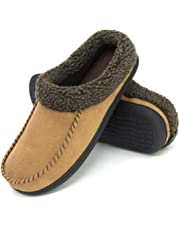 ULTRAIDEAS Men's Comfort Suede Memory Foam Slippers Non Skid House Shoes w/Faux Shearling Collar