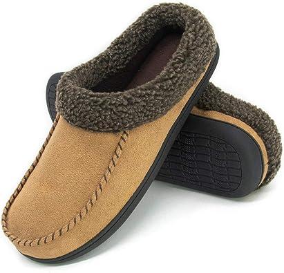 shoeslocker Mens Slippers Warm Comfortable Plush Memory Foam House Shoes