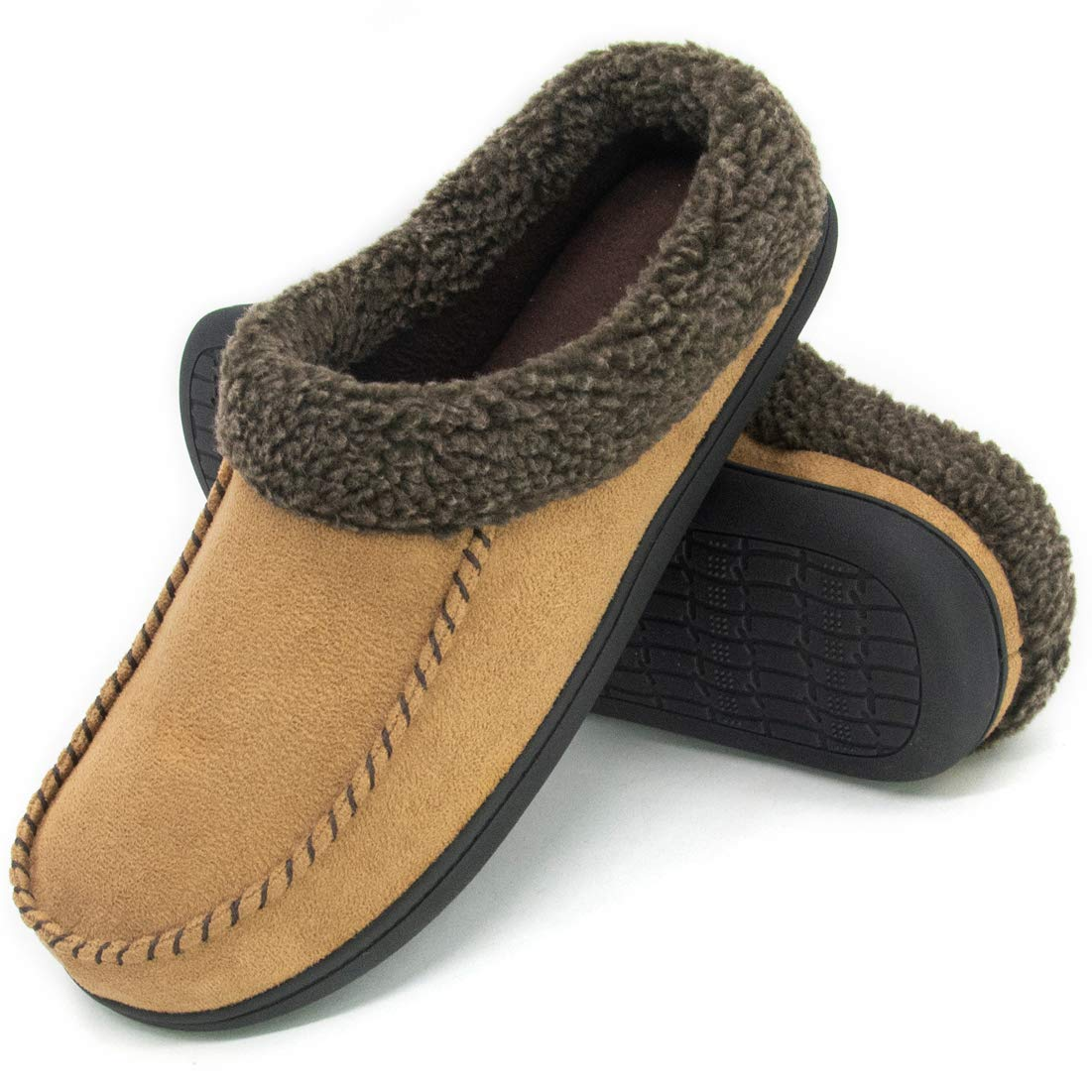 9f882f3864d ULTRAIDEAS Men s Cozy Memory Foam Moccasin Suede Slippers with Fuzzy Plush  Wool-Like Lining
