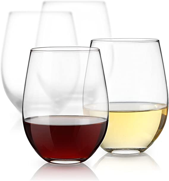 Luminarc 15 Ounce Stemless White and Red Wine Glasses