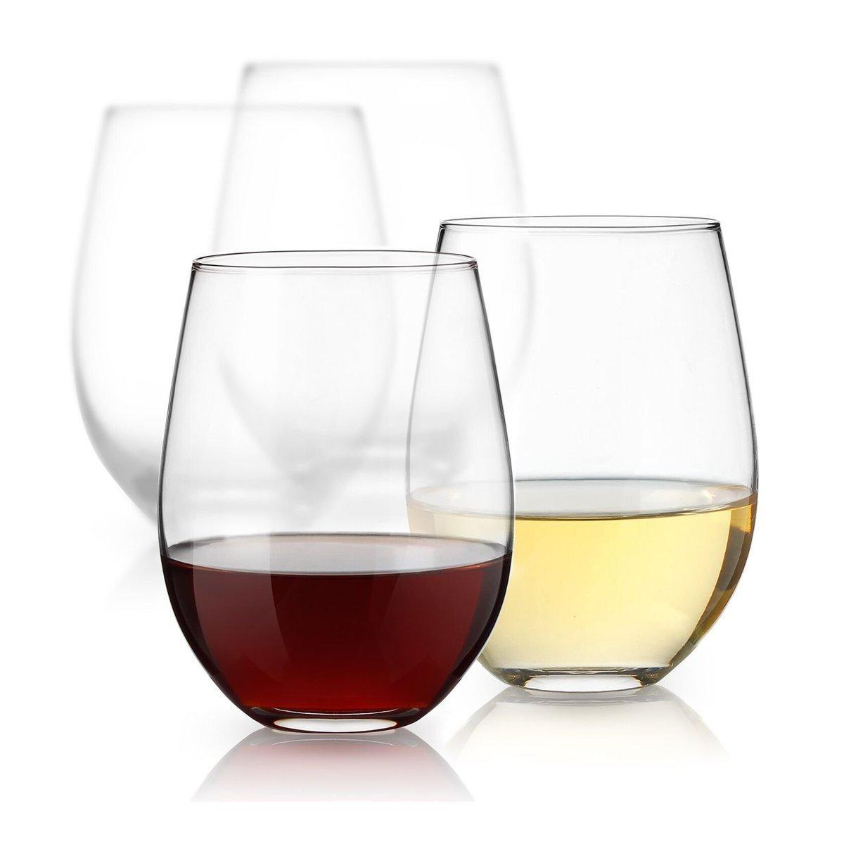 Luminarc 15 Ounce Stemless White and Red Wine Glasses, Set of 12 Tumbler Glasses Set. Best Wine Goblet Glasses Bulk. Arc International