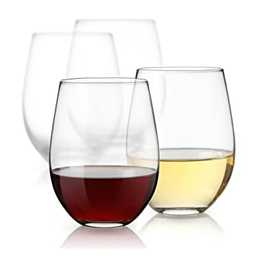 Luminarc 15 Ounce Stemless White and Red Wine Glasses, Set of 12 Tumbler Glasses Set. Best Wine Goblet Glasses Bulk.