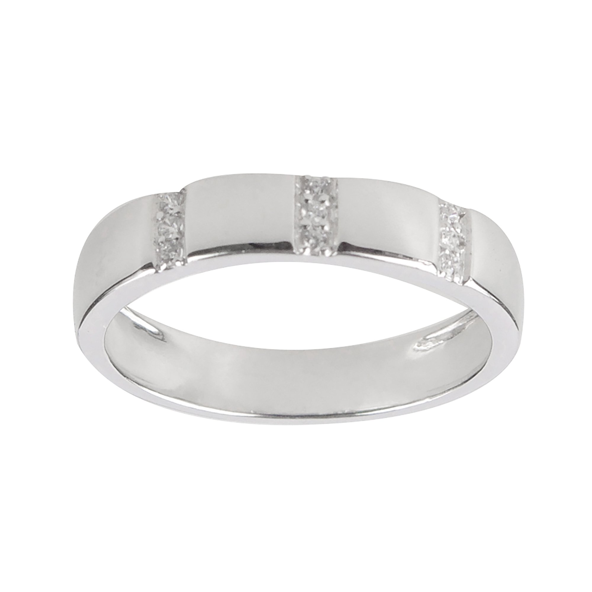 Aura by TJM Sterling Silver 0.05 cts White CZ 3-Stripe Ring