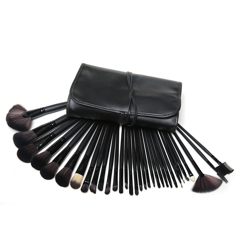 KanCai® Professional 32Pcs Makeup Brush Set Pro Cosmetic Make Up Brush Set Kit Leather Case - For Eye Shadow, Blush, Concealer BLACK