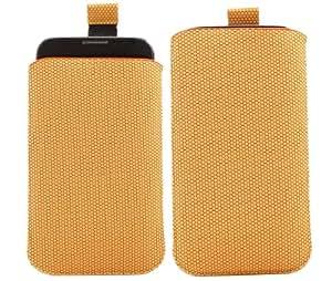iTALKonline NARANJA HEX Patrón Calidad antideslizante Pouch Case Carcasa con Pull Tab para Motorola Moto X