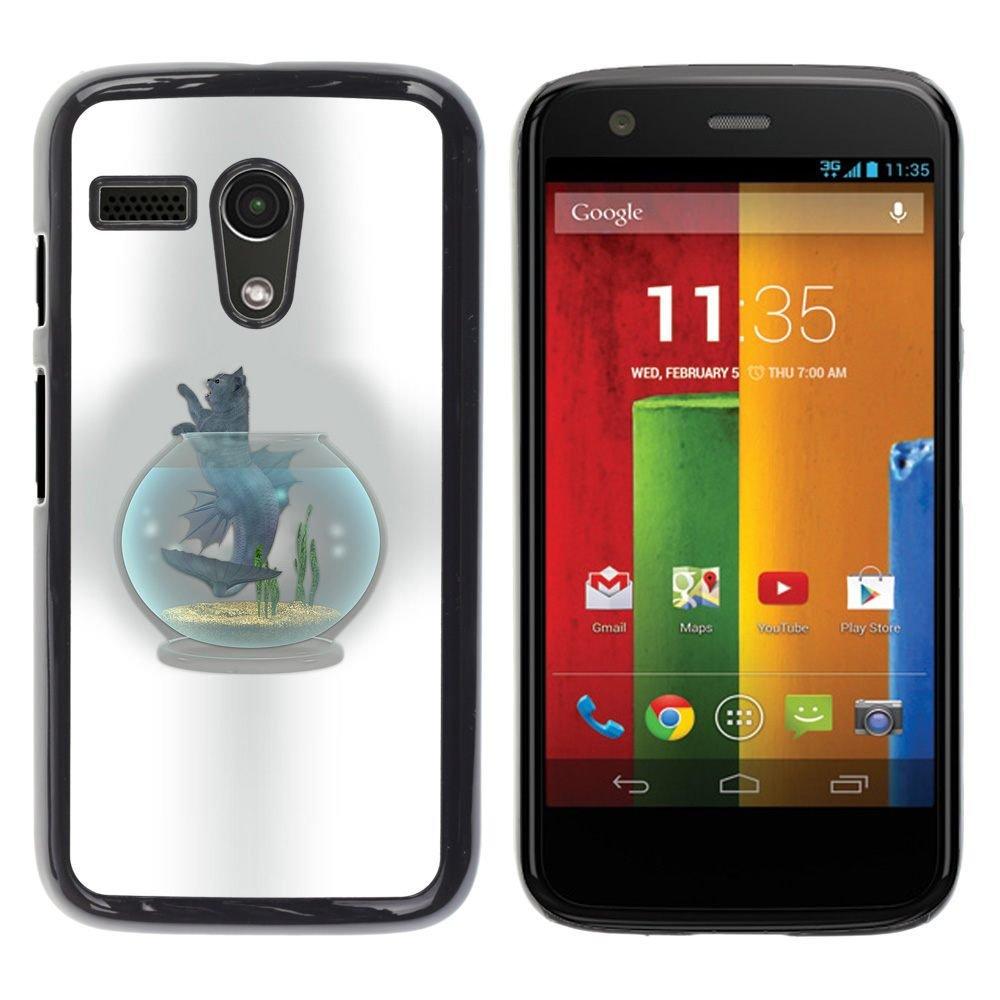 Carcasa de plástico funda | | Motorola Moto G 1 1ST Gen | | Gato pecera bol gris félidos arte dibujo @ XPTECH: Amazon.es: Electrónica