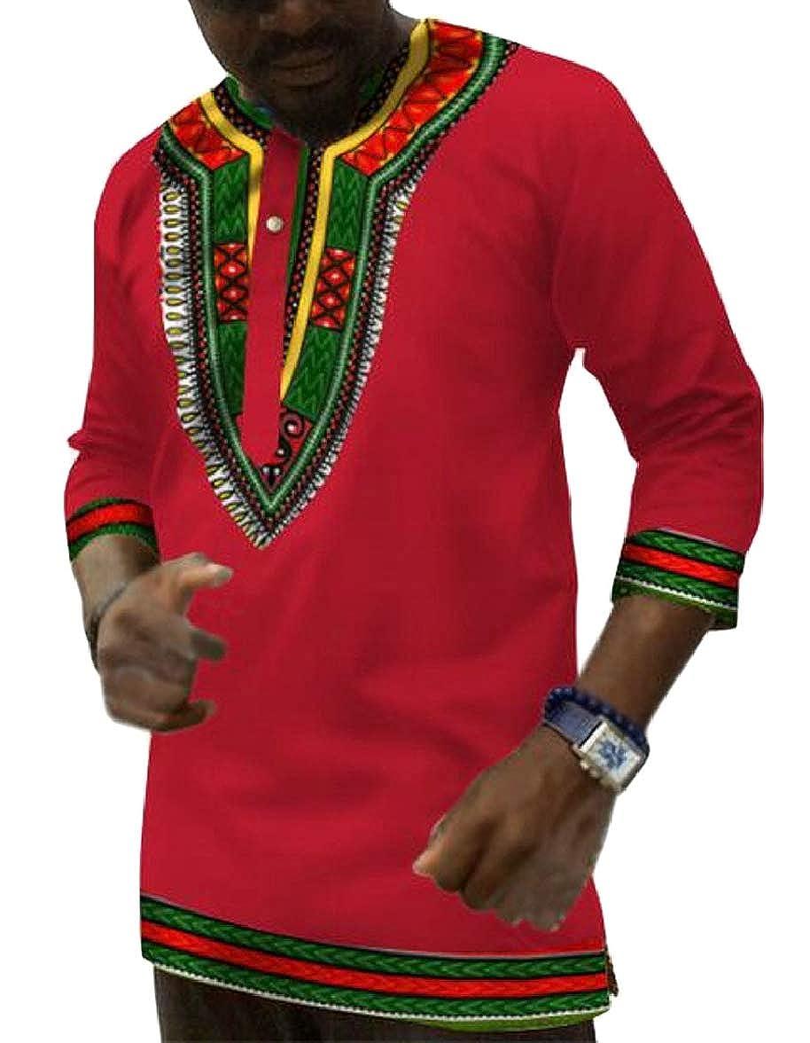 xtsrkbg Mens Dashiki Africa Long Sleeve T-Shirts Floral Print Tee Shirts