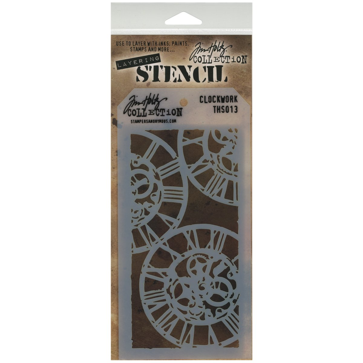 Stampers Anonymous Tim Holtz Layered Stencil, 4.125 by 8.5-Inch, Clockwork THS-013