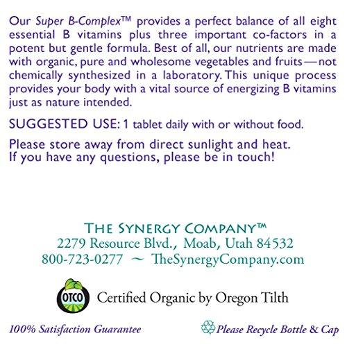 Pure Synergy Super B Complex (60 Tablets) B Vitamin Made w/ Organic Fruits & Veggies