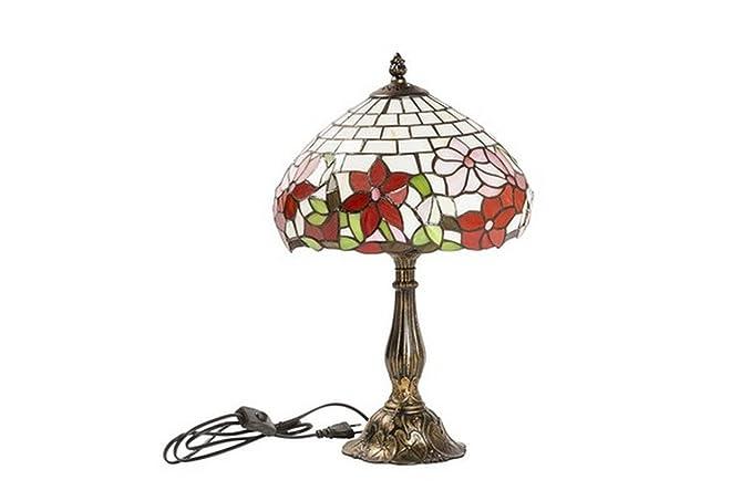 Lámpara Tiffany de mesa con flores: Amazon.es: Iluminación