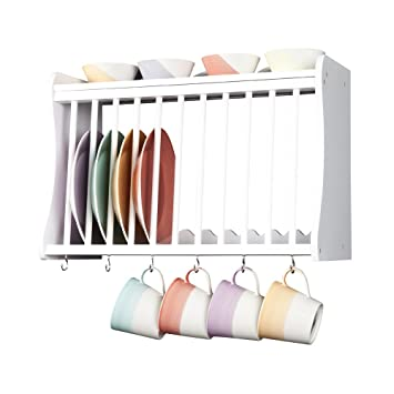 (41007W PW) Kitchen Plate Rack   Wall Mounted   Inc Shelf Above And Hooks
