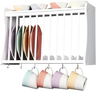 (41007W PW) Kitchen Plate Rack - wall mounted - inc shelf above and hooks under - WHITE by Elegant Brands Ltd