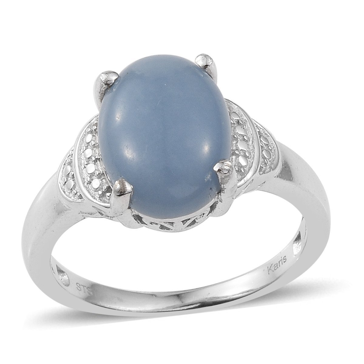 Oval Angelite Fashion Ring for Women Size 7
