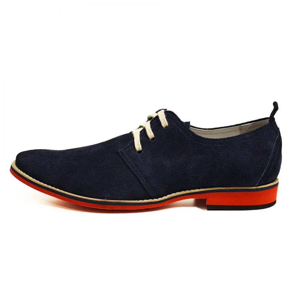 Modello Modello Modello Amadeo - Cuero Italiano Hecho A Mano Hombre Piel Azul Marino Zapatos Vestir Oxfords - Cuero Ante - Encaje 7cc524