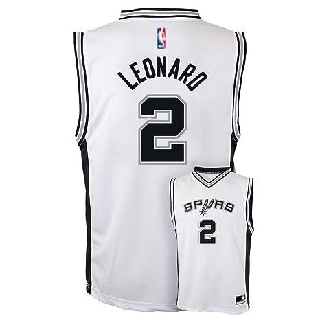 bb3c0ae9784 OuterStuff Kawhi Leonard San Antonio Spurs #2 White Youth Home Replica Jersey  Small 8
