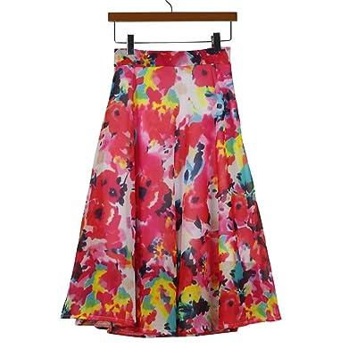 Anshinto Summer Women High Waist Skater Flared Pleated Chiffon Floral Printed Knee-Length Straight Bohemian Casual Skirt