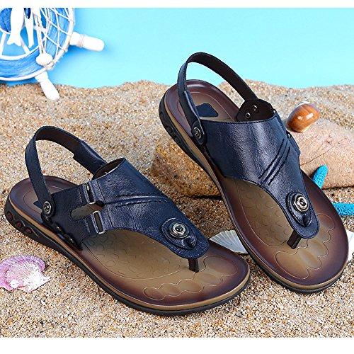 Uomo Blue Flop Pantofole Flip All'aperto Sandali Thong Arrone Spiaggia SQY Pelle Blu dqP6wxtdB