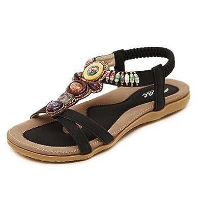 Women's Round Peep Toe Bead Elastic T-Strap Bohemia Roman Sandals Summer  Beach Post Sandals