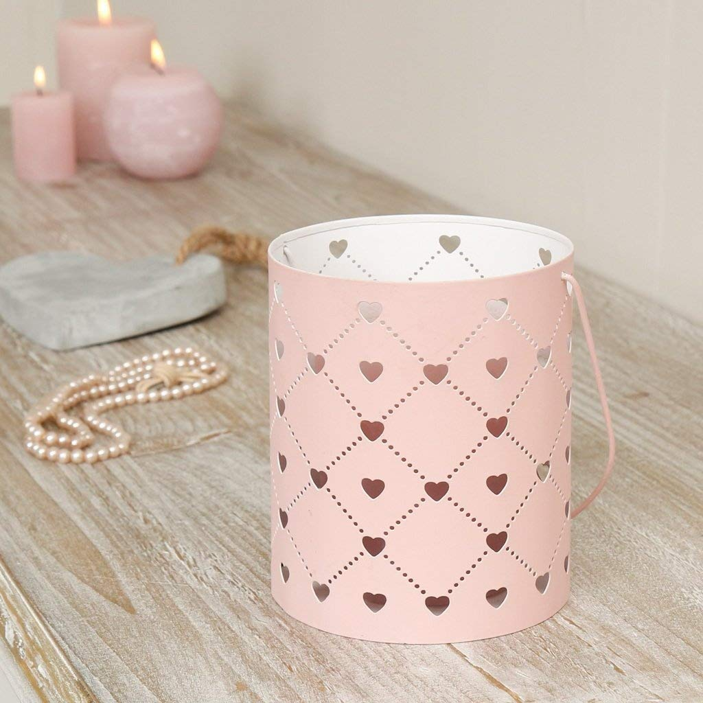 Eye Catching Pink Modern Cut Out Heart Candle Holder Lantern - Stylish Decorative Metal Hurricane Lantern with Carrying Handle, Ideal for Tea Lights, Votives and Small Pillar Candles - Wonderful Gift Idea for Baby Shower, Hen Party, Wedding or Anniversary