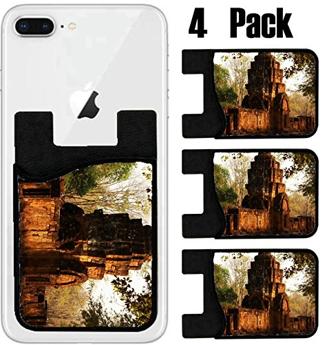 MSD Phone Card holder, sleeve/wallet for iPhone Samsung Android and all smartphones with removable microfiber screen cleaner Silicone card Caddy(4 Pack) Archaeological site of Thailand when the sun - Site Thailand