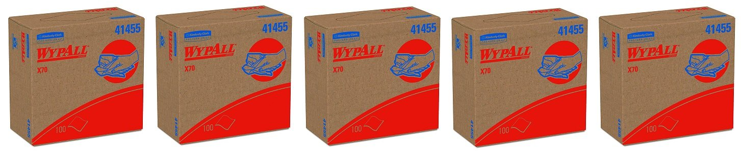 WypAll X70 Extended Use Reusable Wipers (41455), POP-UP Box, Long Lasting Performance, White ,100 count (Pack of 10) (5-(Pack of 10))