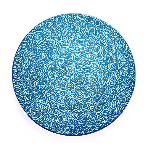 (Porcelain Dessert Plates 8.5-Inch Ceramic Hand Painted Salad Plate Colorful Round Serving Platters,Set of 4,Blue/White Flower)