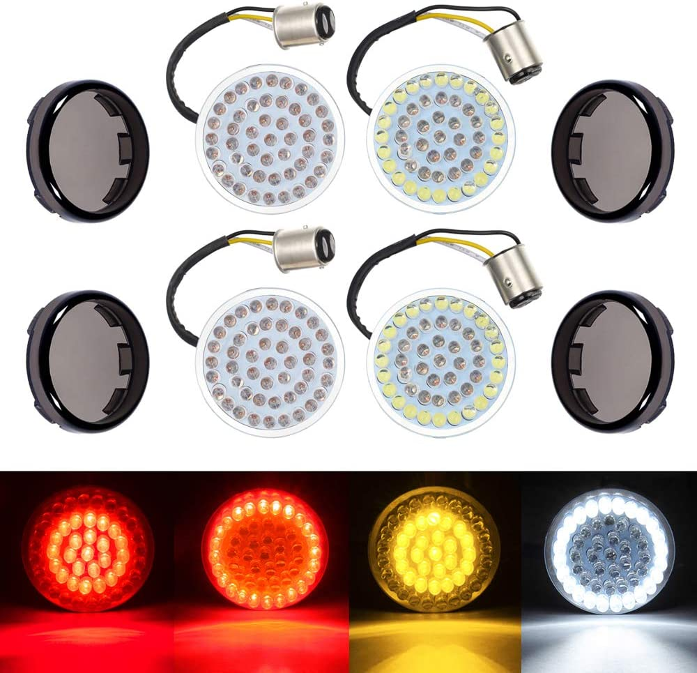 """Amazicha 2"""" LED Turn Signals, Bullet Style 1157 White Amber Front Turn Signal Bulb + 1157 Red Rear Turn Signal Light, 4 PCS Smoke Lens Compatible for Harley Softail Dyna Sportster Touring"""