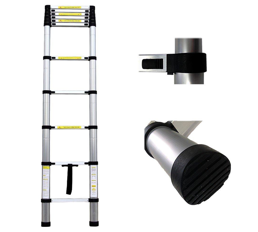 EN 131 Maximalbelastung: 150 kg Gefaltete Gr/ö/ße: 88 x 48.5 x 9 cm Telescopic ladder Leogreen Ausziehbare Leiter 2,6 Meter