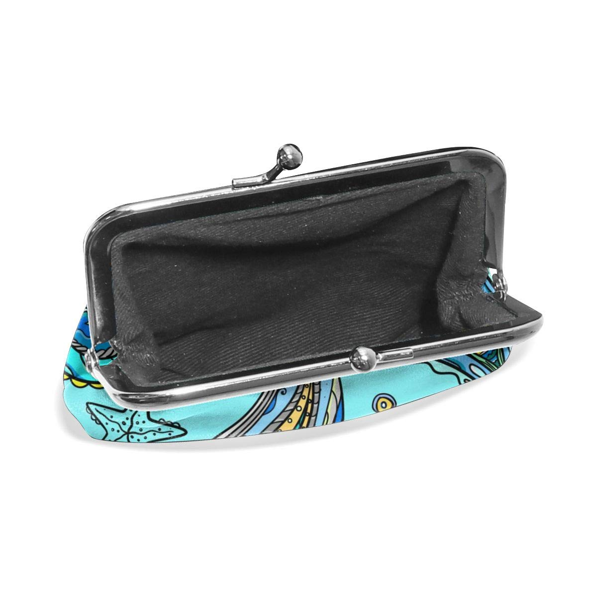 Poream Sea Pattern On A Turquoise Background Retro Leather Cute Classic Floral Coin Purse Clutch Pouch Wallet For Girls And Womens
