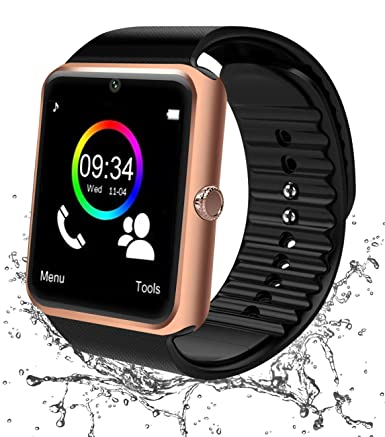 Montre Connectée, Bluetooth Smart Watch Smartwatch Android Etanche Montre Intelligente avec Caméra Facebook Whatsapp Montre Téléphone Sports Bracelet ...