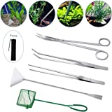 Lukovee Aquarium Tools Kit, 4 in 1 Long Stainless Steel Tweezers Scissor Spatula Multi Functional Aquarium Tank Tool Set…
