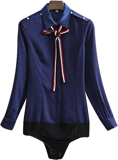 ZAMME Body de Gasa de Mujer Camisas Formales Blusas de Rayas Topss: Amazon.es: Ropa y accesorios