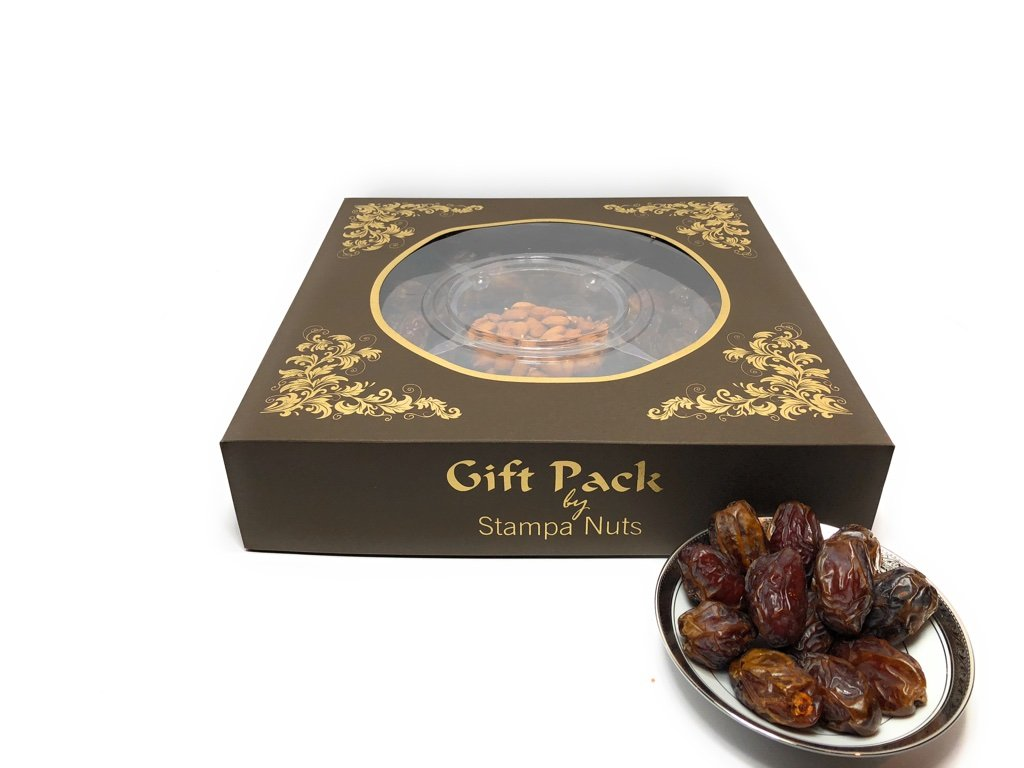 Medjool Dates 5lb Almonds Gift Pack Stampa Nuts Special for Ramadan Special (Brown)