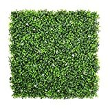 ULAND Artificial Boxwood Hedges Panels, Greenery Ivy Privacy Fence Screening, Home Garden Outdoor Wall Decoration, 10''X10'' per pc (1, Two Tone Green with White Flower)