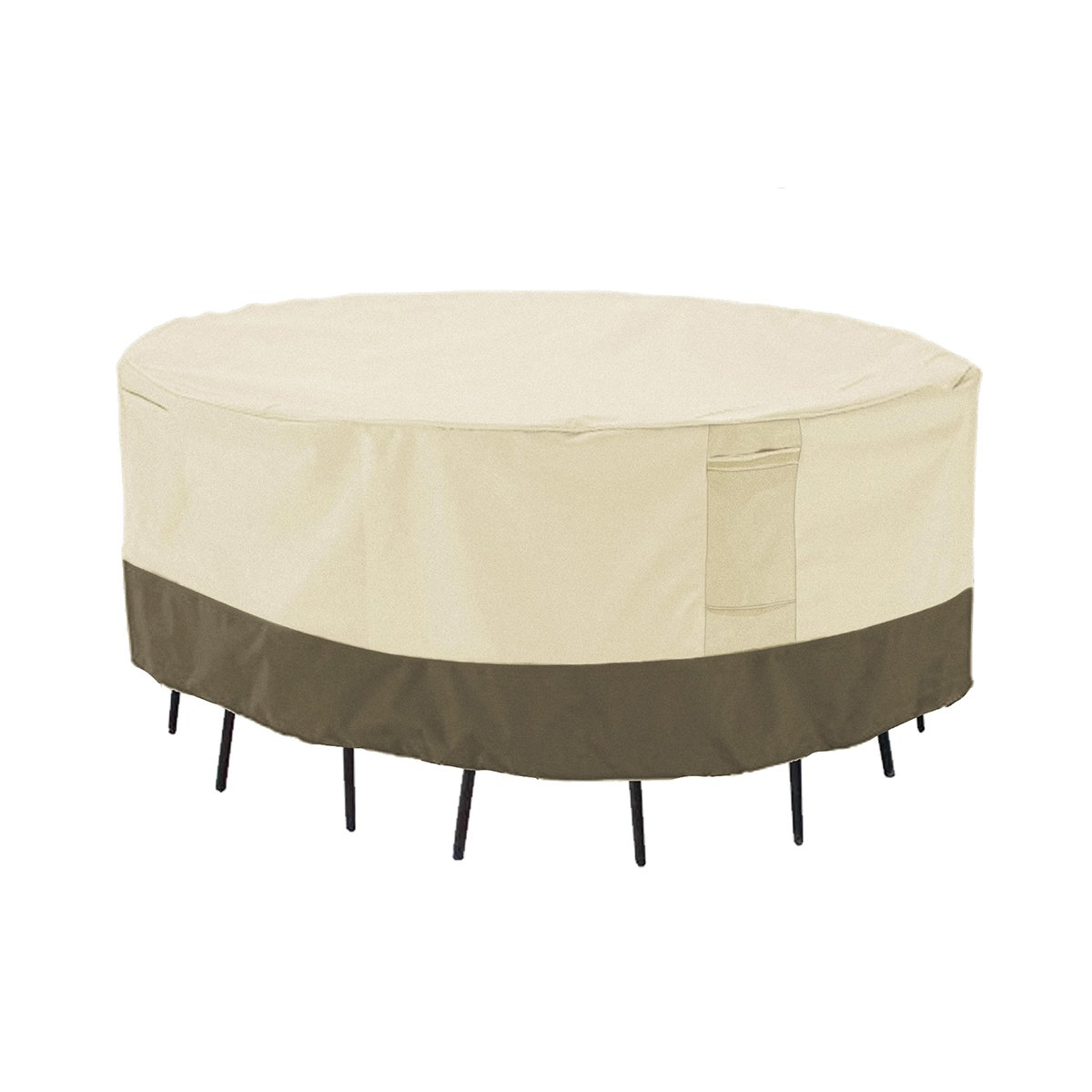 PHI VILLA Patio Round Table & Chair Set Cover, Durable Water Resistant Outdoor Furniture Cover with Pop-up Supporter, Large