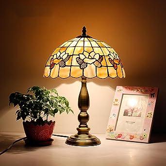 Lámpara de Tiffany estilo/lámpara para leer en la cama/Lámparas de mesa decorativas/Europea y mediterránea cálida sala de estar estudio lámparas-D: Amazon.es: Iluminación