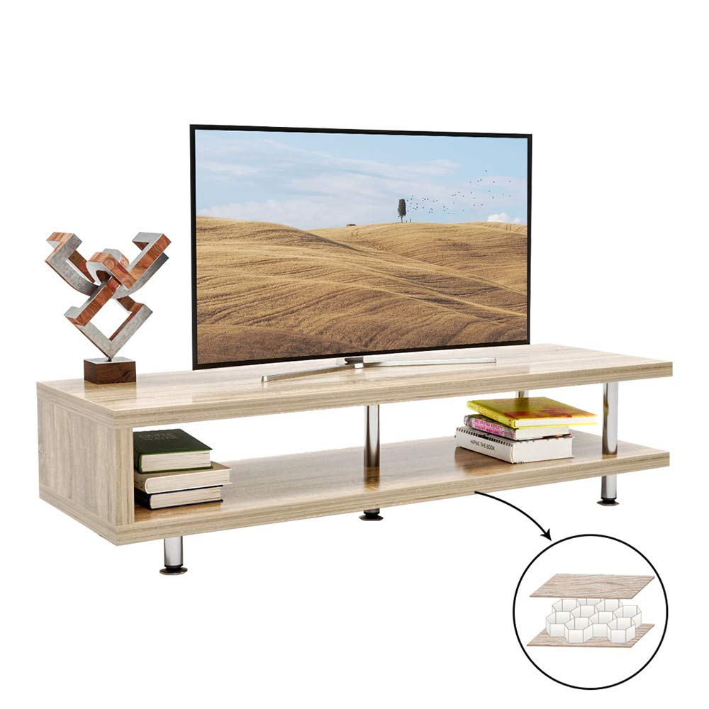 Bestier Short TV Stand with 2-Shelf Storage, 47inch Media Furniture Wood Storage Console with Steel Frame, Hollow Core Entertainment Center/Coffee Table/Sofa Table/Gaming Stand for Home Office Oak by Bestier