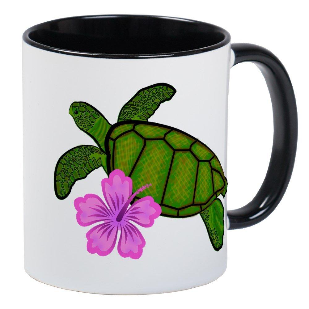 57dd6debc6d Amazon.com: CafePress - Colored Sea Turtle Hibiscus Mug - Unique ...