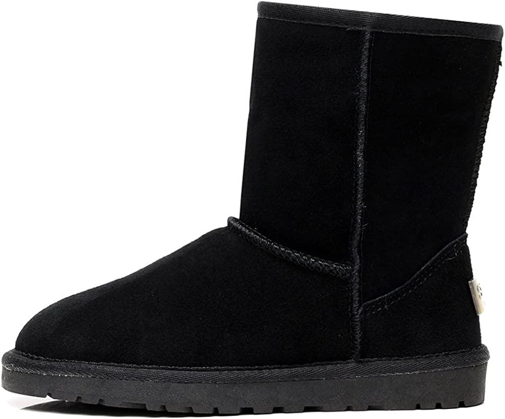 Shenn Womens Winter Warm Classic Mid-Calf Suede Leather Snow Boots