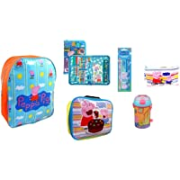 Peppa Pig 6-Piece Filled Backpack: Includes Large Peppa Pig Backpack, 13 Piece Fold Out Filled Pencil Case, 5 Piece Stationary Set, Zip Wallet, Insulated Lunch Bag & Flask