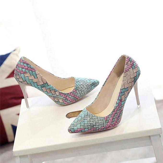Liquidación! Tacones de mujer Covermason Moda tacones finos Zapatos colores mezclados Tacones bajos Zapatos(39 EU, Azul): Amazon.es: Ropa y accesorios