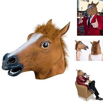 Uesae máscaras de Halloween para adultos, máscara de caballo de látex, decoración de Halloween