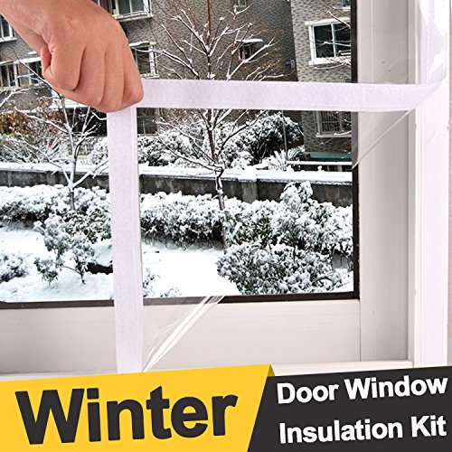 Loobani Extra Large and Heavy Duty Door Window Insulation Kit, Indoor Outdoor Patio Weatherproofing, 1.2M by 2.5M (Large Shades Window Patio)