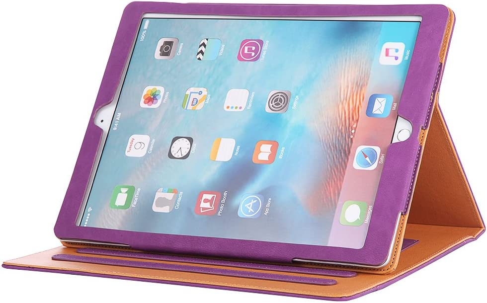 I4UCase Apple iPad 9.7 Inch 2017/2018 (5th/6th Generation) Case - Soft Leather Stand Folio Case Cover for iPad 9.7 Inch, with Multiple Viewing Angles, Auto Sleep/Wake, Document Pocket (Purple)