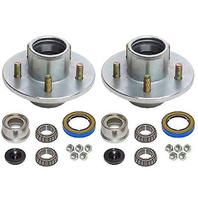 2-Pk Trailer Wheel Hub Complete Kit Galvanized (5 on 4.5) BT16 2K Lbs 1-1/16 in: Automotive