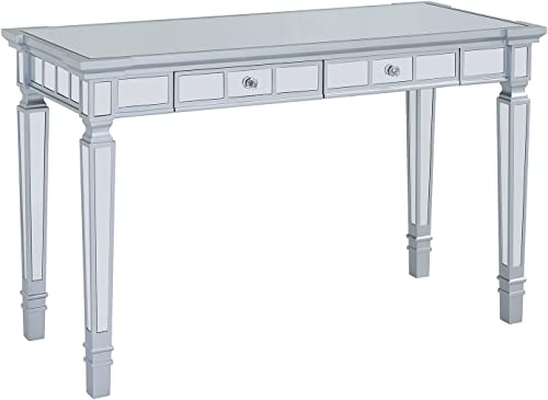 Mirrored Writing Desk – Silver Mirror Vanity Table with Two Drawers – Glam Design
