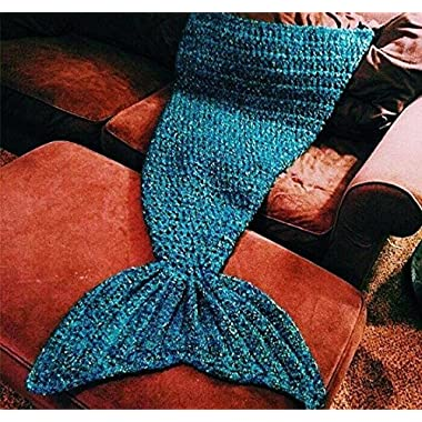 Handmade Mermaid Tail Blanket for Adults, Feet Go in Fins, Super Soft Cozy Cotton, Perfect Little Mermaid Cute Gift